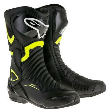 Alpinestars SMX 6 v2 Motorcycle Motorbike Race Touring Boot Black & Yellow Fluo